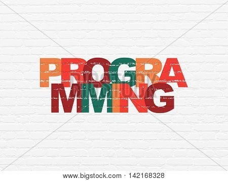 Programming concept: Painted multicolor text Programming on White Brick wall background