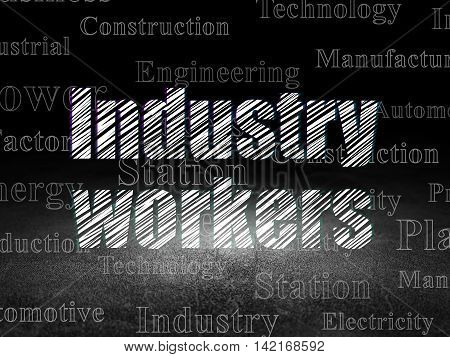 Industry concept: Glowing text Industry Workers in grunge dark room with Dirty Floor, black background with  Tag Cloud