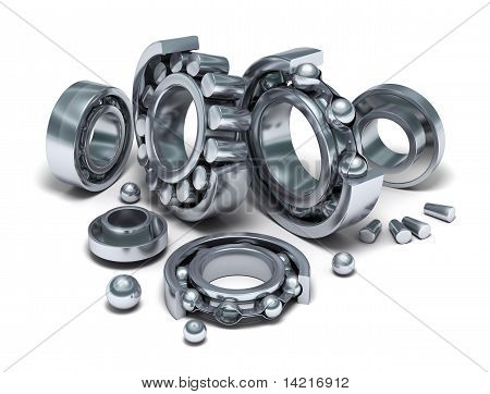 Sliced Bearings set and details. 3D image