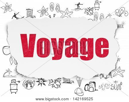 Vacation concept: Painted red text Voyage on Torn Paper background with  Hand Drawn Vacation Icons