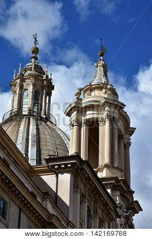 Spires and pinnacles of St Agnes baroque church in Rome built in the 17th century