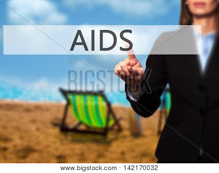 Aids - Isolated Female Hand Touching Or Pointing To Button