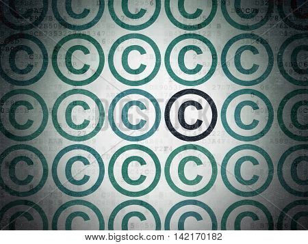 Law concept: rows of Painted blue copyright icons around black copyright icon on Digital Data Paper background