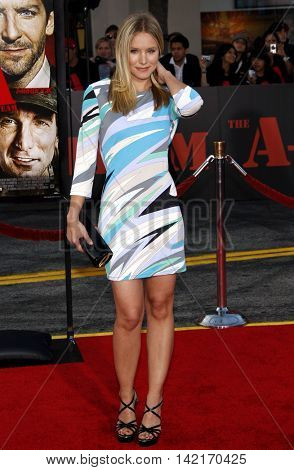 Kristen Bell at the Los Angeles premiere of 'The A-Team' held at the Grauman's Chinese Theater in Hollywood, USA on June 3, 2010.