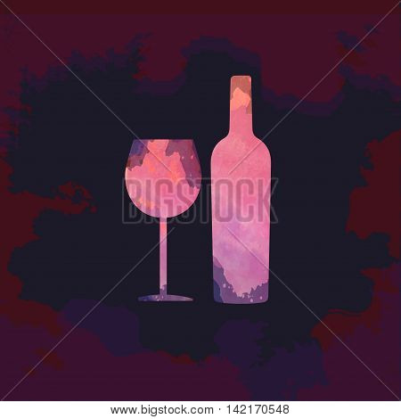 Wine tasting card with colored bottle and a glass over a dark splash painted background. Digital vector image.