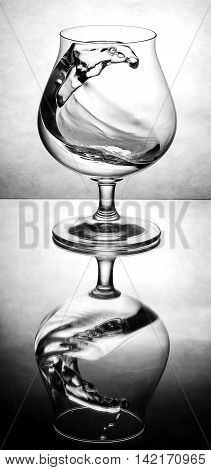 Wild water wave in a congac glass