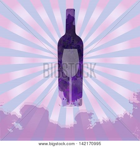 Wine tasting card with colored bottle and a glass over a splash painted background. Digital vector image.