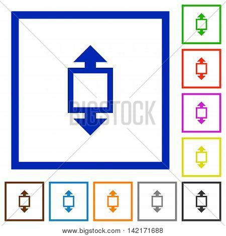 Set of color square framed height tool flat icons