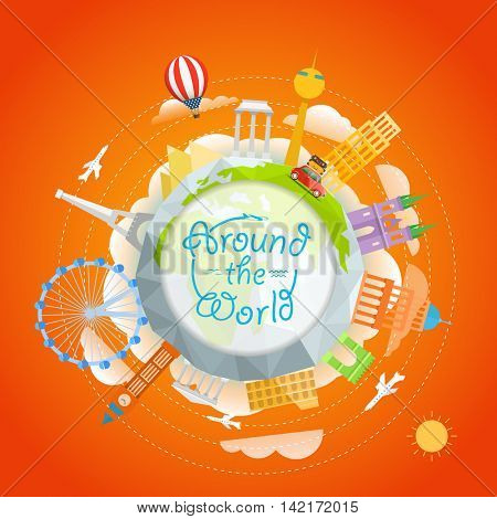 Travel around the world concept. Template for a text