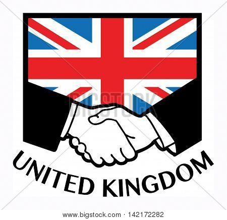 United Kingdom flag and business handshake, vector illustration