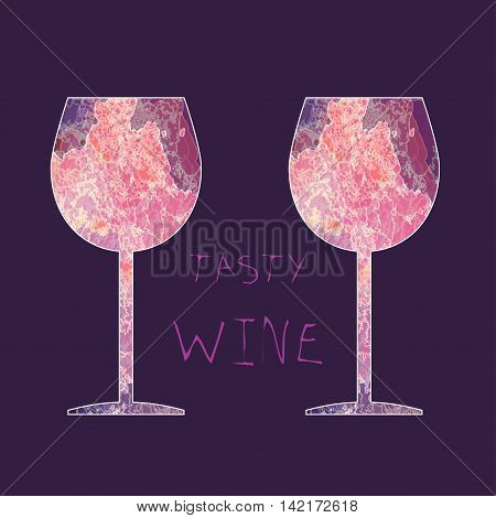 Wine tasting card with colored glasses over a dark pink background. Digital vector image.