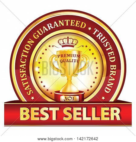 Best seller, satisfaction guaranteed, trusted brand icon / ribbon / label with golden cup