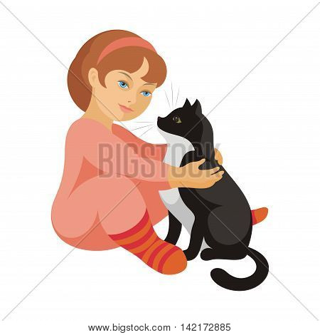 the little girl in a pink pajamas plays with a big black cat