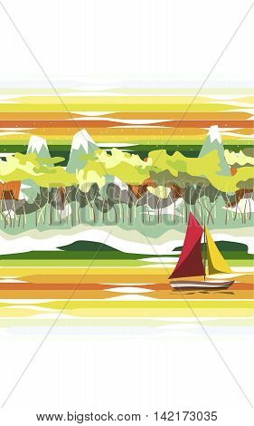 The landscape. On the river floats sailing ship with red and yellow sails . On the shore of the beach ,followed by forest and mountains with snowy peaks.