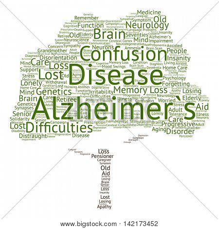Concept conceptual Alzheimer`s disease symtoms abstract tree word cloud isolated on background
