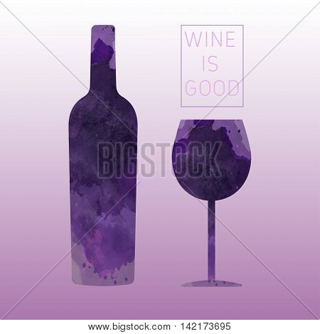 Wine tasting card with a bottle and a glass over a pink background. Digital vector image.
