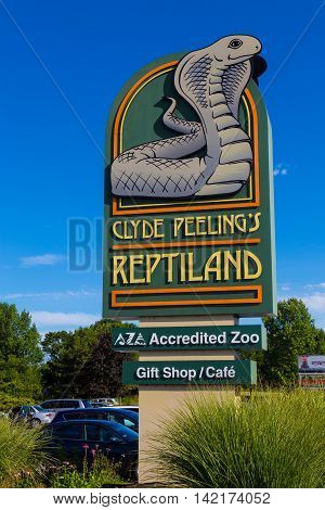 Allenwood PA - July 26 2016: Clyde Peeling's Reptiland is an enduring and unusual roadside attraction in north central Pennsylvania.