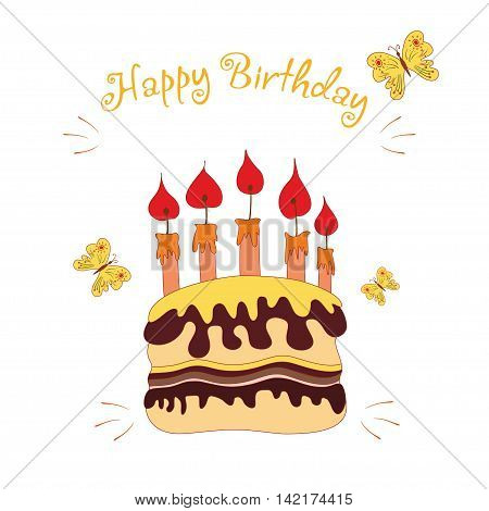 Birthday cake with candle vector illustration in hand drawn syle.