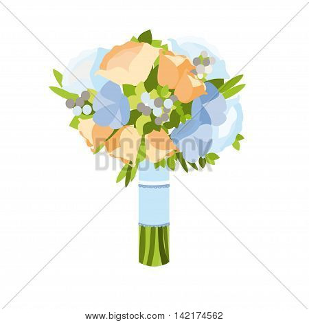 Beautyful wedding bouquet vector illustration isolated on white background.Beautiful bridal bouquet in flat style.