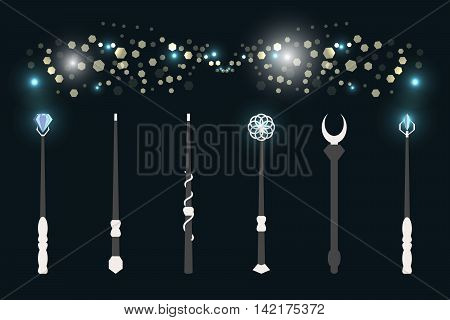 Magic wands. The magical glow of light flashes. Wizard tool. Vector illustration.
