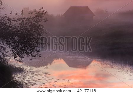 sunrise on the river Luga ,Novgorod oblast, Russia