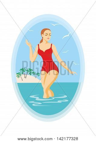 the girl in a red bathing suit leaves the sea