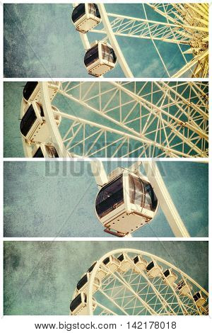 Retro style image of a ferris wheel against blue sky. Cross-processed, grunge effect collage