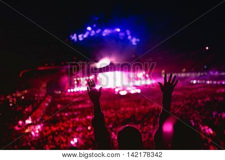 Music Concert With Lights And Silhouette Of A Woman Enjoying The Concert. Girl Hands At Concert, Lov