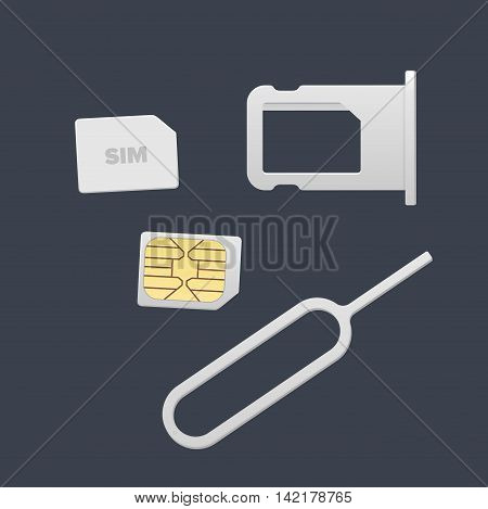 Small Nano Sim Card Sim Card Tray and Eject Pin for Smartphone. Vector objects isolated on white. Realistic vector icons. Top view