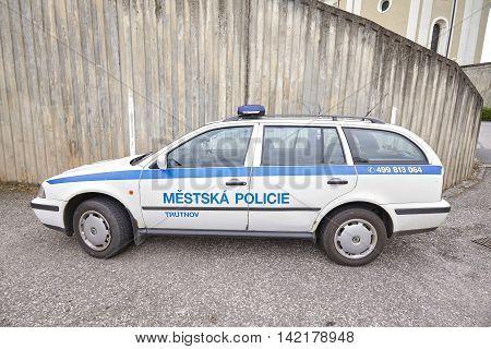 Trutnov Czech Republic - May 26 2016: Municipal police car parked on a city street.