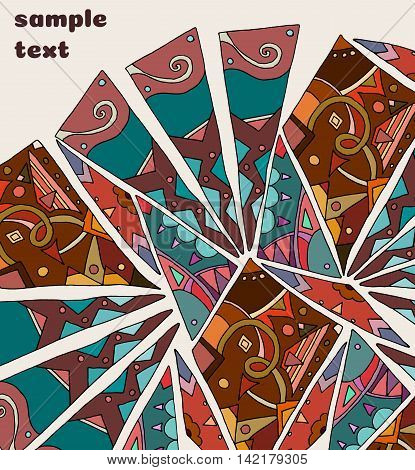Abstract picture. Etnic vitrage illustration. Folc motif