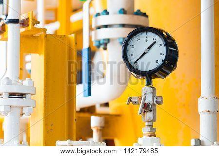 Closeup of pressure gauge show in zero position