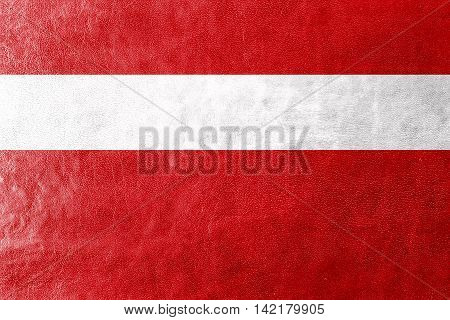 Flag Of Vaduz, Lichtenstein, Painted On Leather Texture