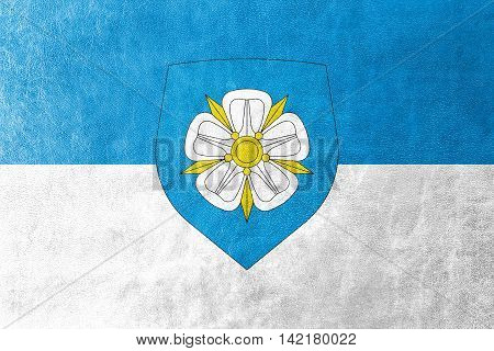 Flag Of Viljandi With Coat Of Arms, Estonia, Painted On Leather Texture
