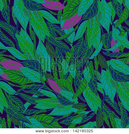Vector colorful seamless background with leaves. Modern illustration.