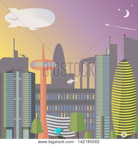 Landmark. The city night with the moon and stars. Skyscrapers and TV tower with fountain. Vector illustration.