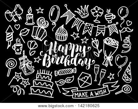 Happy birthday lettering and doodle set, vector illustration isolated on black background. Funny set of sketch birthday party objects