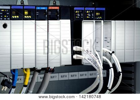 PLC programable logic controlerThis picture show hard wiring communication socket connection