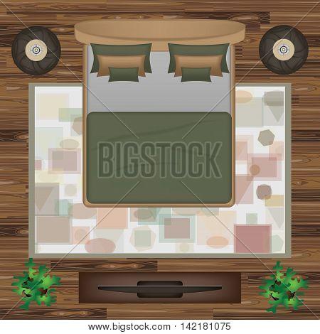 Bed, Pillows, Carpet, Pouf, Plants Vector Illustration. Bedroom Furniture Set for Interior Design. Scene Creator. Interior Top View. Architectural Floor Plan.