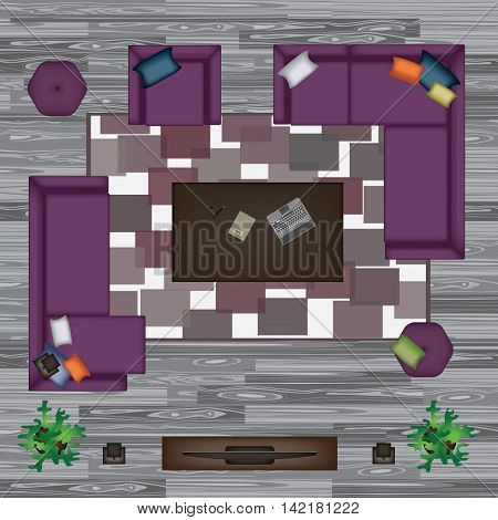 Sofa, Armchair, Pillows, Carpet, Coffee Table, Pouf, Plants Vector Illustration. Furniture Set for Your Design. Scene Creator. Interior Top View. Architectural Floor Plan. Purple Sofas on Grey Parquet