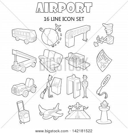 Outline airport icons set. Universal airport icons to use for web and mobile UI, set of basic airport elements isolated vector illustration