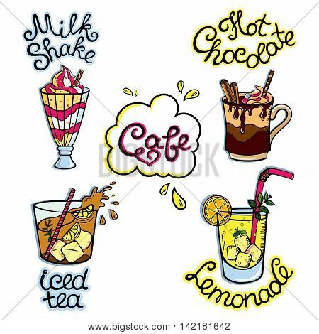 Set of hand-drawn cartoon drinks: non-alcoholic beverages - iced tea, herbal tea, hot chocolate, milk shake, lemonade and so. Vector illustration, isolated on white.