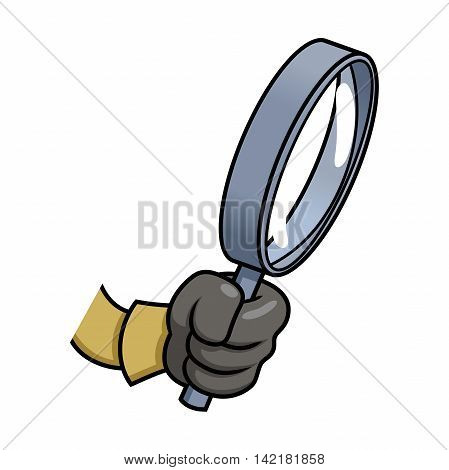 Illustration of the hand holding a loupe