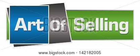 Art of selling text written over green blue background.