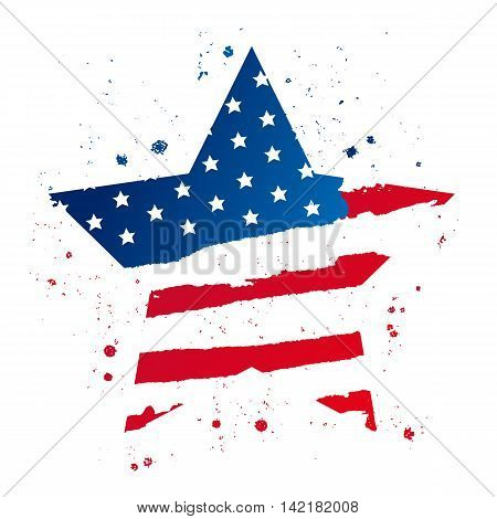 American flag in the shape of a large star. USA. Vector illustration on white background. Excellent print on a T-shirt.