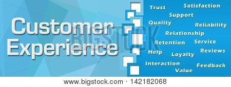 Customer experience text and related wordcloud over blue background.