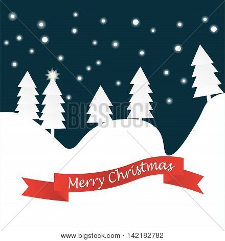 Winter landscape background with falling snow spruce forest silhouette and red ribbon banner.