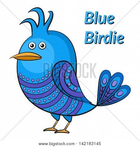 Funny Blue Bird with Pattern Wings Looks Away, Cute Cartoon Character, Isolated on White Background. Vector