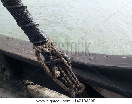 Looking At The Water From An Old Timber Sailing Ship