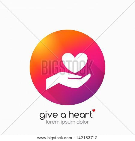 Hands holding heart symbol, sign, icon, logo template for charity, health, voluntary, non profit organization Vector